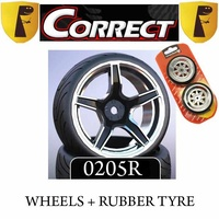 Correct Models Wheels C63K +Rubber Tyres 1/10 (1 Pair)