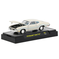 M2 - 1/64 Detroit-Muscle Release 47 - 1970 Oldsmobile Cutlass 442 in Porcelain White with Blue Stripes