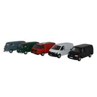 Oxford - 1/76 Oxford Diecast 5 Piece VW Van Set T1/T2/T3/T4/T5