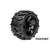 Roapex - Morph 1/10 Stadium Truck Tires- Black Wheel - 1/2 Offset (12mm Hex)