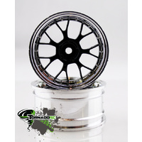 Tornado RC - 1/10 Chrome Rims Silver Black 1 Pair